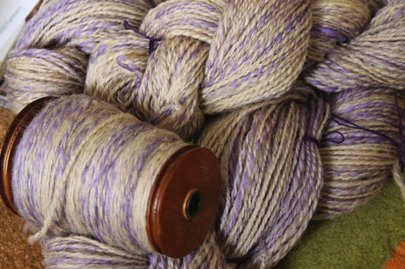 lilac & cream pure wool yarn from Spinning Earth, Kent